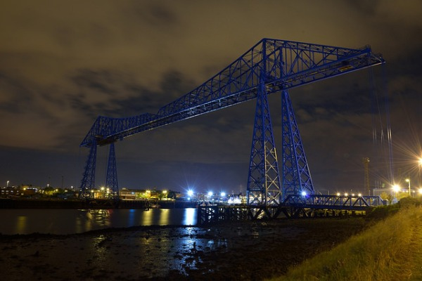 Tees Transporter Bridge at night. Photo by Rich [CC BY 2.0] via this flickr page